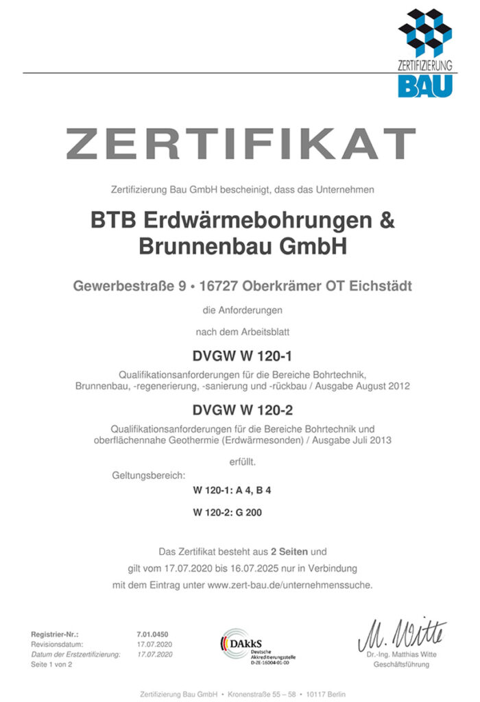 BTB Erdwärmebohrung und Brunnenbau